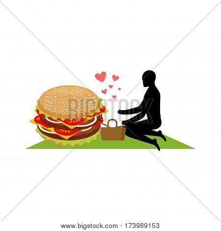 Lover Fast Food. Man And Hamburger On Picnic. Guy And Burger. Meal In Nature. Blanket And Basket For