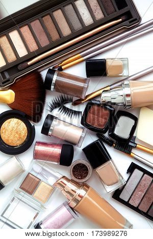 Makeup Tools And Accessories. Brow Eyeshadows, Naturel Skin Foundation For Clean Ton Face, Nail Poli