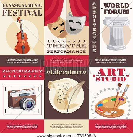Arts set of posters with music festival theatrical performance architecture literature photography painting studio isolated vector illustration