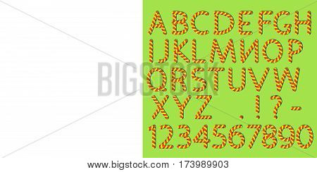 English alphabet and numbers. Capital letters and punctuation marks. Candy cane imitation. Pattern brush is included in vector file.
