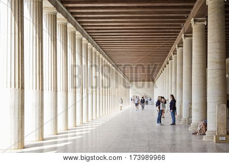 ATHENS, GREECE, SEPTEMBER 7, 2016: Detail from the corridor of Museum of the Ancient Agora inside Stoa of Attalos, Athens, Greece.