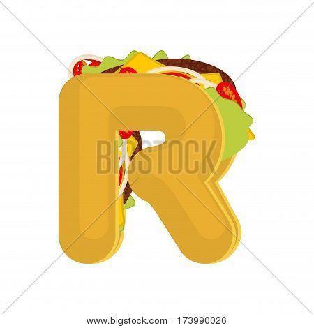 Letter R Tacos. Mexican Fast Food Font. Taco Alphabet Symbol. Mexico Meal Abc