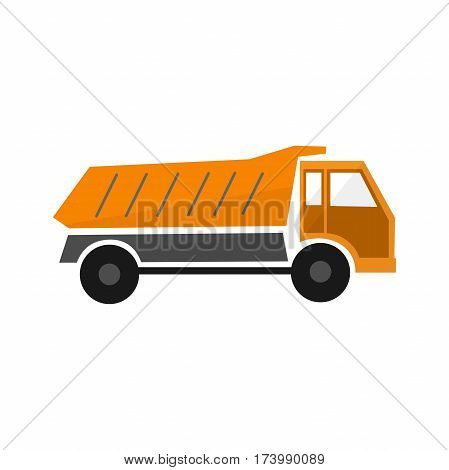 orange truck dump in flat design types transport car vector industry illustration icon vehicle isolated lorry