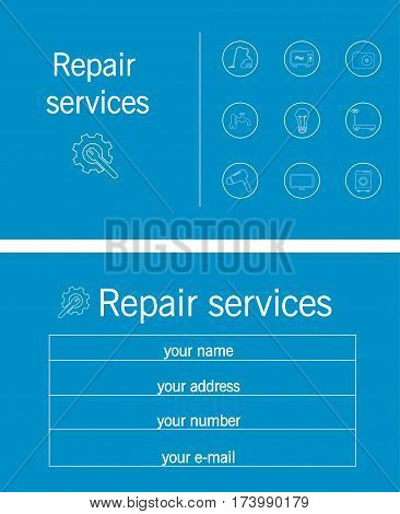Business card repair services sanitary electronic technology vector