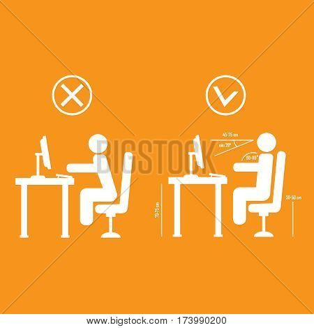 Correct and bad spine sitting posture vector