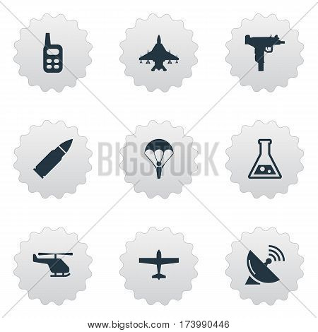 Set Of 9 Simple Terror Icons. Can Be Found Such Elements As Air Bomber, Sky Force, Firearm And Other.