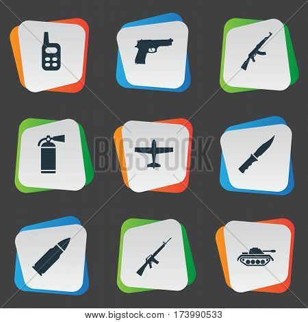 Set Of 9 Simple Army Icons. Can Be Found Such Elements As Ammunition, Cold Weapon, Air Bomber And Other.