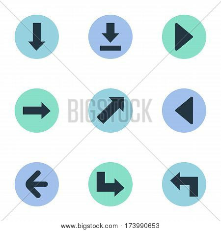 Set Of 9 Simple Pointer Icons. Can Be Found Such Elements As Downwards Pointing, Right Landmark, Left Direction.