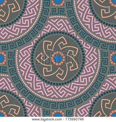 Traditional seamless vintage circle shaped ornate elements with Greek ornament Meander. Can be used for wrapping paper, fabric, ceramic. Vector illustration