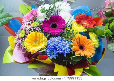 Bunch Of Big Fresh Orange Pink Red Gerbera Chamomile And Big White Yellow Blue Chrysanthemum Flower