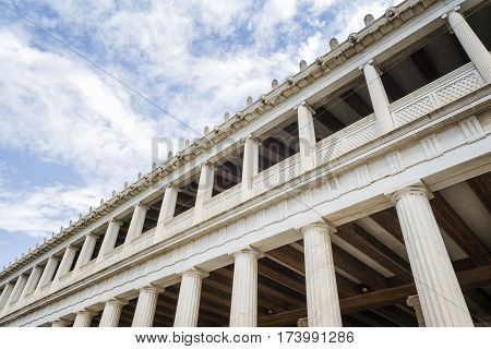 Exterior Shot Of Stoa Of Attalos, Athens, Greece
