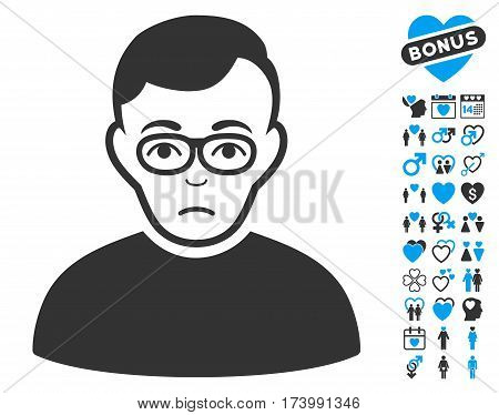 Downer pictograph with bonus decoration pictograph collection. Vector illustration style is flat iconic blue and gray symbols on white background.