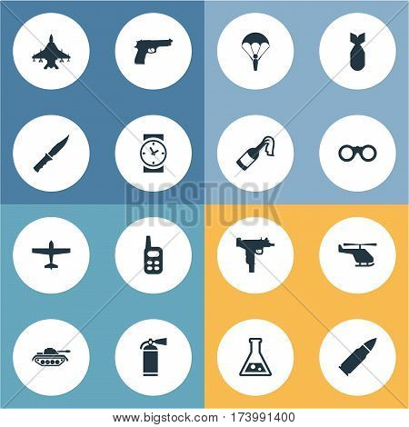 Set Of 16 Simple Terror Icons. Can Be Found Such Elements As Sky Force, Cold Weapon, Chemistry And Other.