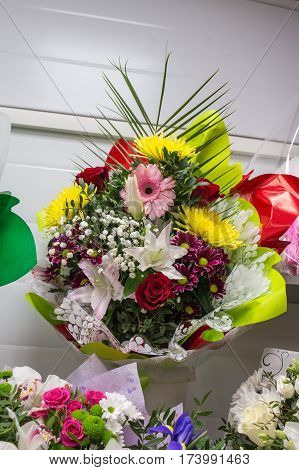 Bunch Of Big Fresh Pink Red Gerbera Chamomile And Big Yellow Chrysanthemum Roses White Lilies Flower