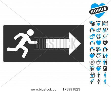 Emergency Exit icon with bonus valentine graphic icons. Vector illustration style is flat iconic blue and gray symbols on white background.