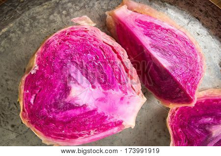 Red Sour Cabbage Slices On A  Pan