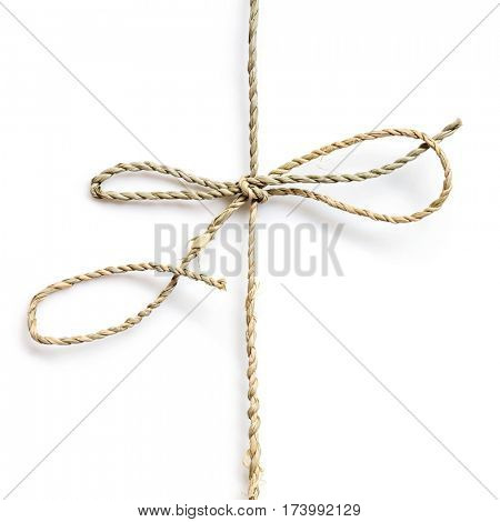 String bow tied over white background
