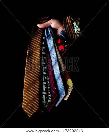 row of neckties collection, pattern, men accessory elegant, fashion collection