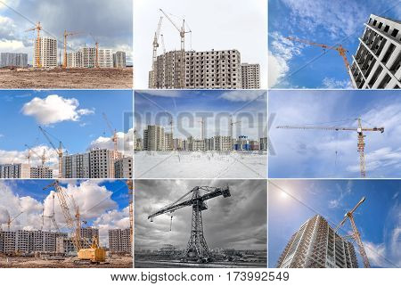 Hoisting tower cranes and modern buildings under construction. Collage.