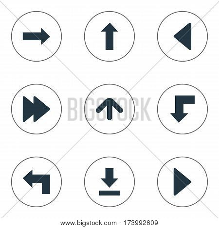 Set Of 9 Simple Cursor Icons. Can Be Found Such Elements As Left Landmark , Let Down, Reduction.