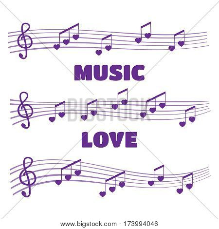Musical notes and chords heart. Music love vector