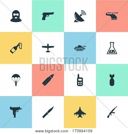 Set Of 16 Simple Military Icons. Can Be Found Such Elements As Kalashnikov, Nuke, Ammunition And Other.