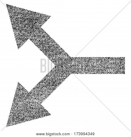 Bifurcation Arrow Left vector textured icon for overlay watermark stamps. Black jeans fabric vectorized texture. Symbol with dirty design. Black ink rubber seal stamp with fiber textile structure.