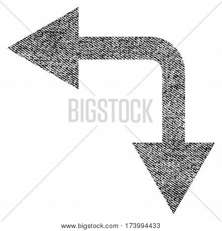 Bifurcation Arrow Left Down vector textured icon for overlay watermark stamps. Black jeans fabric vectorized texture. Symbol with dust design. Black ink rubber seal stamp with fiber textile structure.