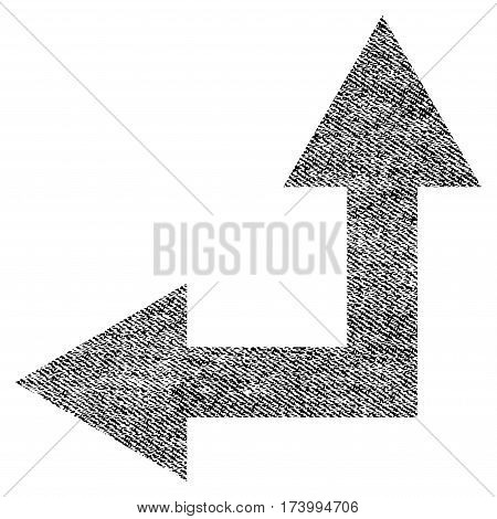 Bifurcation Arrow Left Up vector textured icon for overlay watermark stamps. Black jeans fabric vectorized texture. Symbol with scratched design.