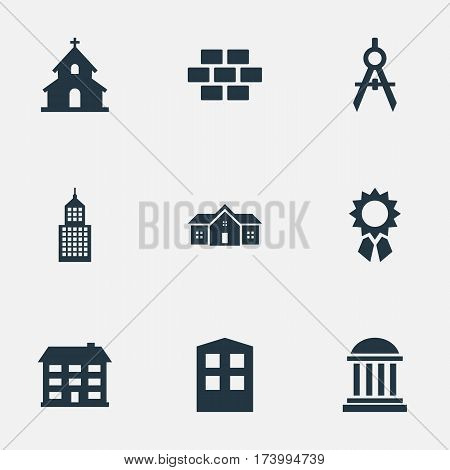 Set Of 9 Simple Architecture Icons. Can Be Found Such Elements As Popish, Residence, Construction And Other.