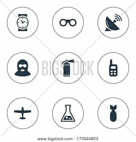 Set Of 9 Simple Army Icons. Can Be Found Such Elements As Watch, Chemistry, Nuke And Other.