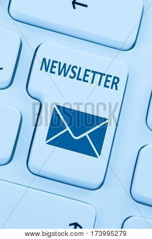 Sending Newsletter Internet Business Marketing Campaign Online Blue Computer Web