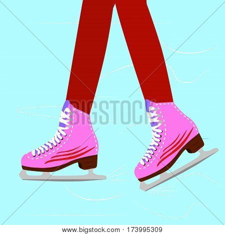 Ice skating woman on the rink. Close up illustration of the girl legs wearing skates. vector illustration.