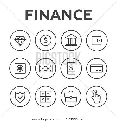 Money line vector icons set. Money finance credit card bank commerce currency coin cash money