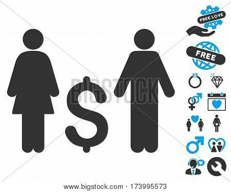 Family Dollar pictograph with bonus decoration pictograph collection. Vector illustration style is flat iconic blue and gray symbols on white background.