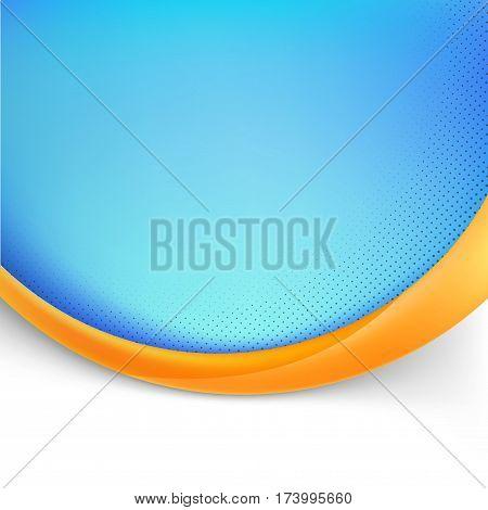 Blue folder design with orange wave modern abstract dotted layout. Vector illustration