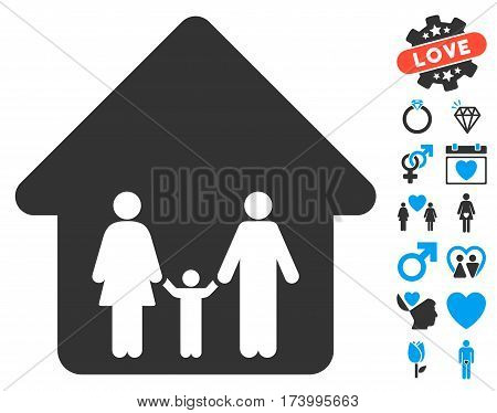 Family Home pictograph with bonus love pictograph collection. Vector illustration style is flat iconic blue and gray symbols on white background.