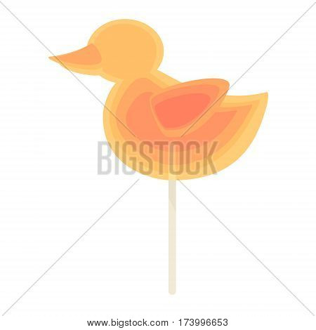 Caramel candy on a stick rainbow of colors in the form of a duck. For children on holidays