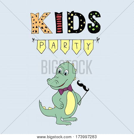Kids Party lettering,  illustration with baby dino. Good for header, invitation, banner, greeting card