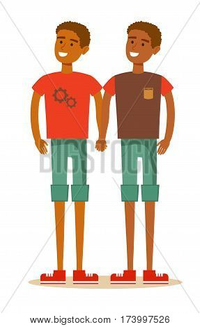 Young African American homosexual family. Gay couple with hand in hand. Cartoon character illustration Isolated on white background. Stock vector for poster, greeting card, website, ad.