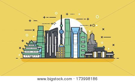 Stock vector illustration background icon linear style architecture buildings and monuments town city country travel flyer, printed Chinese Bungalows, China, Beijing, Shanghai, Chinese culture