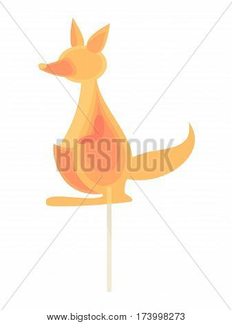 Caramel candy on a stick in the form of kangaroo. Children dessert snack for children.