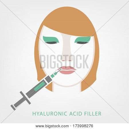 Hyaluronic acid lip injections image in iconic style. Vector illustration with a woman cosmetology treatment in pastel colour on a white background. Medical, cosmetological and anti-aging concept.