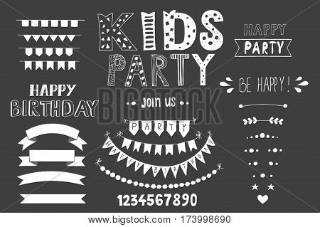 Kids Party lettering, party design elements. Good for header, invitation, banner, greeting card