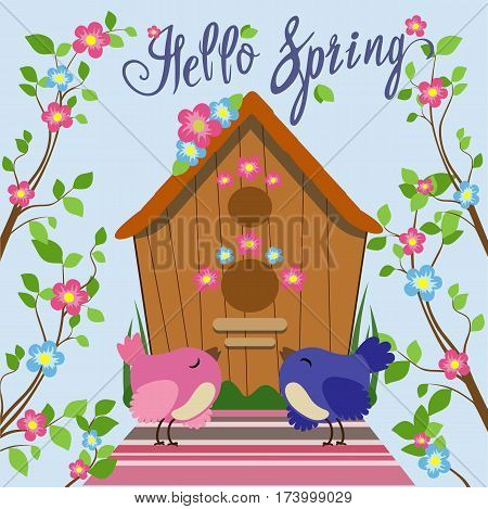 Color illustration of birds in a flat style among the branches with leaves and flowers near a birdhouse. Vector set of colorful cartoon birds.