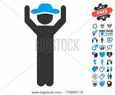 Gentleman Hands Up pictograph with bonus decorative pictograms. Vector illustration style is flat iconic blue and gray symbols on white background.