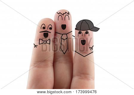 Three Gay Friend In A Cap, A Tie And A Butterfly Finger.