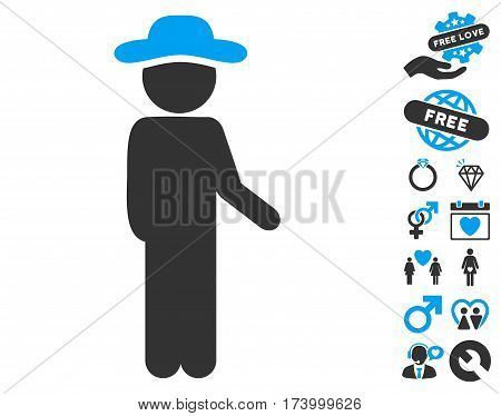 Gentleman Idler icon with bonus romantic images. Vector illustration style is flat iconic blue and gray symbols on white background.