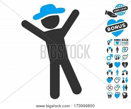Gentleman Joy icon with bonus amour icon set. Vector illustration style is flat iconic blue and gray symbols on white background.