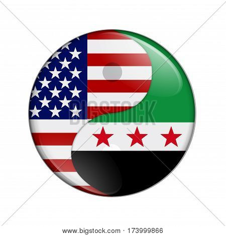 USA and Syria working together The US flag and Syrian flag on a yin yang symbol isolated over white 3D Illustration
